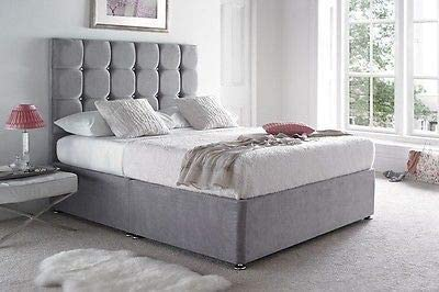 Grey Suede Divan Bed Set-With Headboard-2 Drawers-Free Headboard-Mattress Option-3ft-4ft-4ft6-5ft-6ft-Free Delivery 3ft Single, No Mattress
