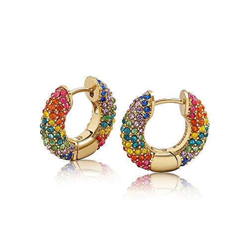 Rainbow Huggie Hoop Earrings, Colorful Crystal Gold Plated Cuff Earrings Fashion Jewelry Gift for Women Girls (Mutil)