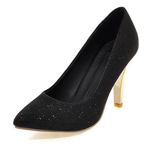 VogueZone009 Damen Stiletto Rein Ziehen auf Weiches Material Spitz Zehe Pumps Schuhe Schwarz