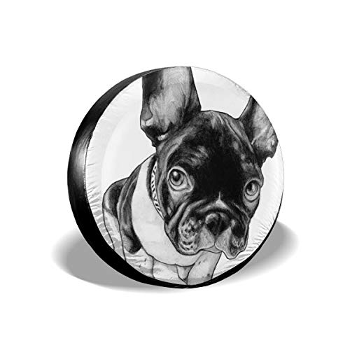 Love Taste French Bulldog Spare Tire Cover Polyester Waterproof Dust-Proof Universal Spare Wheel Tire Cover Fit for Jeep,Trailer, RV, SUV and Many Vehicle DIY, 14