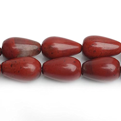 p Spacer Beads for Fashion Necklace Bracelet Earrings Jewelry Making Supplies Natural Red Jasper Stone Rain Drop Beads Sold by One Strand 15 Inch Apx 31 Pcs (Black Jasper Ring)