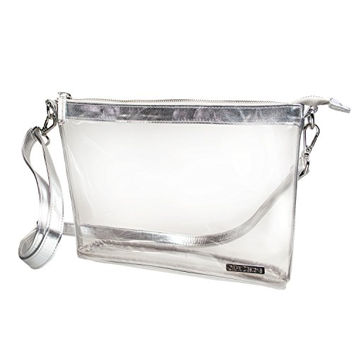 PVC bag color Clear Capri Large accents Crossbody Silver Women's with Designs CqzRCnwX1x