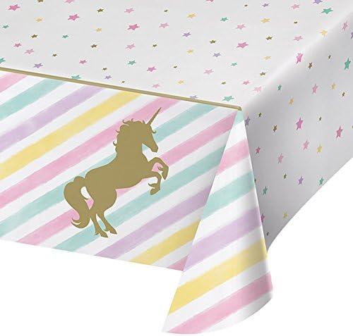 Creative Converting 329302 All Over Print Plastic Tablecover Unicorn Sparkle Multi Color One Size