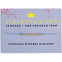 HolyFast Birthday Gifts for 13th 15th 16th 18th 21th 25th 30th 39th 40th Year Old Girl Birthday Bracelet with 14K Gold Dipped Beads Adjustable Bracelet