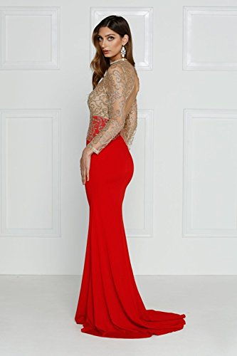 bb45b7e4ae Missord Women s O Neck Long Sleeve Bodycon Maxi Dress for Prom Large Red