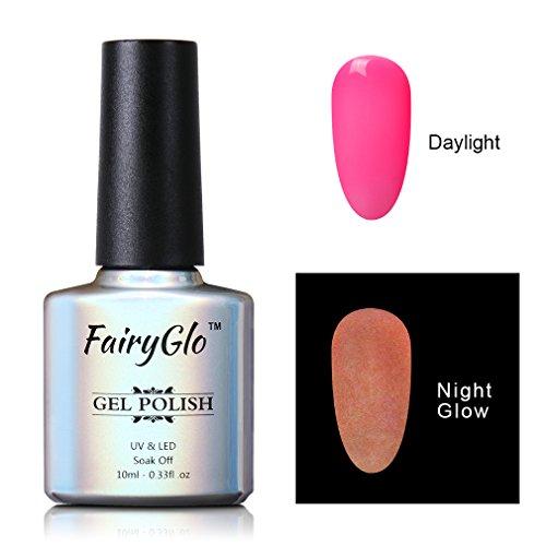 FairyGlo Long Lasting Night Glow Gel Nail Polish Soak Off UV LED Dramatic Manicure Decor Kit Nail Art For Party Carnival Dressing 10ml (Glow In The Dark Makeup Kit)