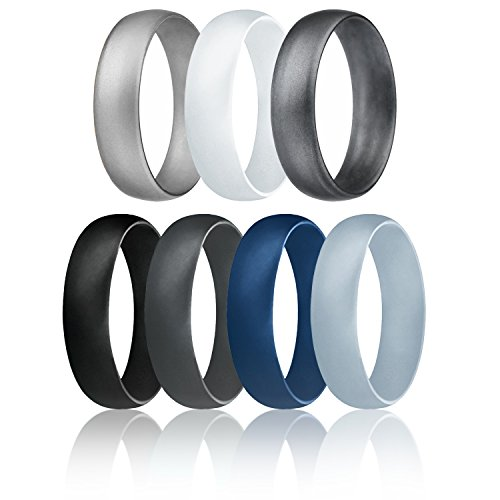 Silicone Wedding Ring For Men By ROQ, Affordable 6mm Metallic Silicone Rubber Wedding Bands, Comfort Fit, Singles, 4 & 7 Packs - Black, Grey, Silver, Blue, White