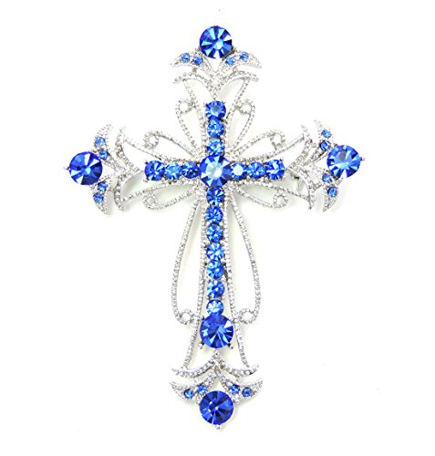 Faship Blue Crystal Big Cross Crucifix Pin Brooch Crucifix Pin
