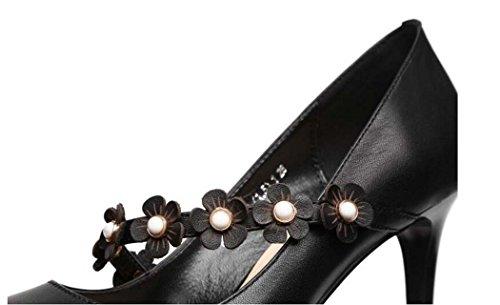 Noir à Hauts Beige à Respirantes Bout Taille pour Talons Fleurs 34 Femmes Pointu Chaussures Noir Chaussures 39 EwTaCqp4xn