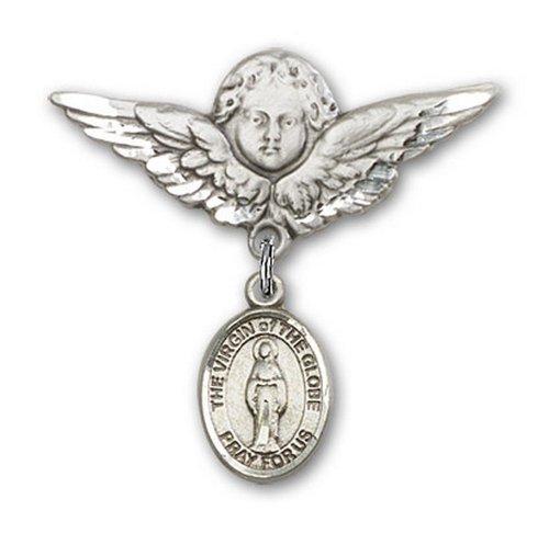 Icecarats Créatrice De Bijoux En Argent Sterling Vierge Du Charme Ange Broche De Badge Globe 1 1/8 X 1 1/8