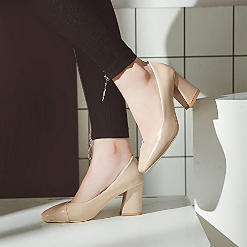Heels Arbeit Blockabsatz Pumps Für Damen Aisun High Nudefarbe Business Low Schlicht Top 10n8gv