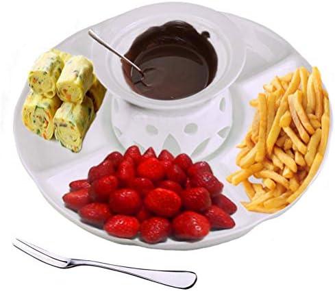 Fondue Au Fromage Fondue Au Chocolat Fondue Au Chocolat Vaisselle en Céramique équipée d'un Plateau De Fruits Cuillère à Crème Glacée