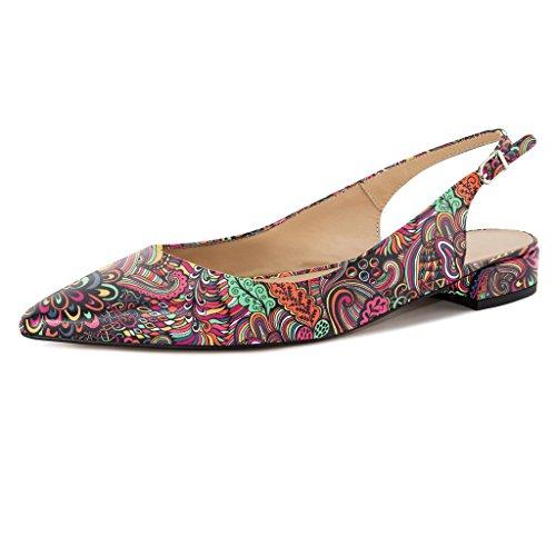 Eldof Women Low Heels Pumps | Pointed Toe Slingback Flat Pumps | 2cm Classic Elegante Court Shoes Flower-red TDY9PCz