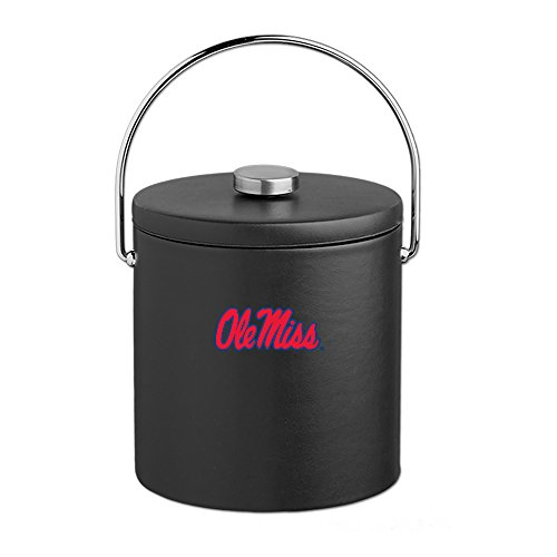 (Kraftware Collegiate NCAA Mississippi Old Miss Rebels Leatherette Ice Bucket, 3-Quart, Black)