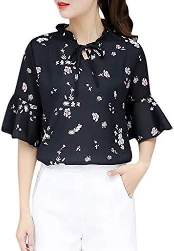 [해외]Women Casual Shirts Short Sleeve O-Neck Floral Print Tops Blouse Loose Vintage Office Shirts / Women Casual Shirts Short Sleeve O-Neck Floral Print Tops Blouse Loose Vintage Office Shirts