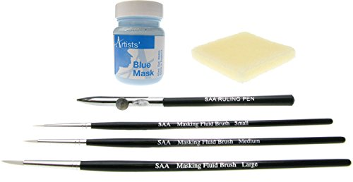 (SAA NEW SAA Blue Masking Set - Blue Masking Fluid, Brushes, Ruling Pen & Maskaway)