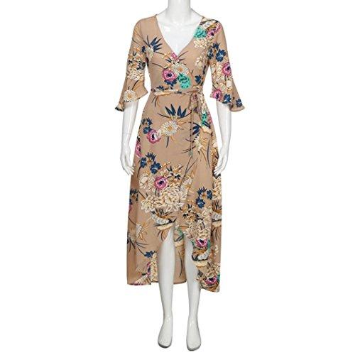 Fantaisie Beige Imprim Manches Nuit Maxi Dcollet Soire Blouse Longue Florale Robe de Femme Plage Robe Courtes Bohme de Angelof Longue Volant wxIRHCnq