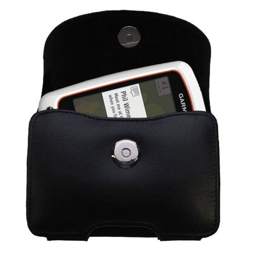 Belt Mounted Leather Case Custom Designed for the Garmin Approach G7 - Black Color with Removable Clip by Gomadic
