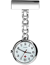 Nurses Lapel Pin Watch Hanging Medical Doctor Pocket Watch Quartz Movement Nurses Watch with Gift Box (Silver)