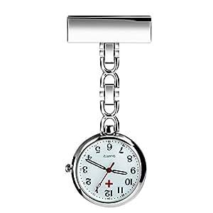 WIOR Nurses Lapel Pin Watch Hanging Medical Doctor Pocket Watch Quartz Movement Nurses Watch with Gift Box