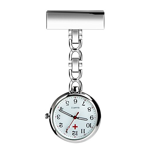 WIOR Nurses Lapel Pin Watch Hanging Medical Doctor Pocket Watch Quartz Movement Nurses Watch with Gift Box (Silver)
