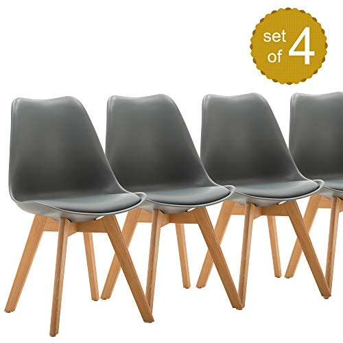 Dining Side Chairs Eames-Style Mid Century Modern DSW Upholstered Side Chair for Room Living Room Bedroom Kitchen with Beech Wood Legs, Set of 4 (Grey)