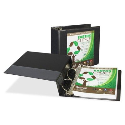 Earths Choice Biodegradable Angle-D Ring View Binder, 5quot; Capacity, Black
