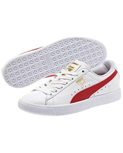 PUMA Damen Clyde Core Sneakers Weiß / Barbados Kirschgold