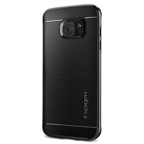 Spigen Schutzhülle für Samsung Galaxy S7 Edge [NEO HYBRID] Schale + Rahmen - Hülle in dunkelgrau [Gunmetal - 556CS20143]