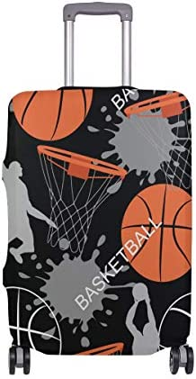 (ソレソレ)スーツケースカバー 防水 伸縮素材 キャリーカバー ラゲッジカバー バスケット バスケットボール スポーツ 可愛い おしゃれ 防塵 旅行 出張 便利 S M L XLサイズ