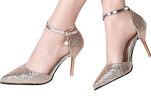 (Fainosmny Womens High Heels Wild High-Heeled Wedding Shoes Stiletto Sexy Sequins Pumps Belt Buckled Pointed Single Shoes Gold)