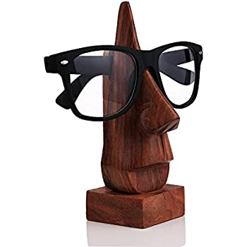 Wooden Eyeglass Holder Nose Shaped Spectacle Holder with Free Bookmark (Brown)
