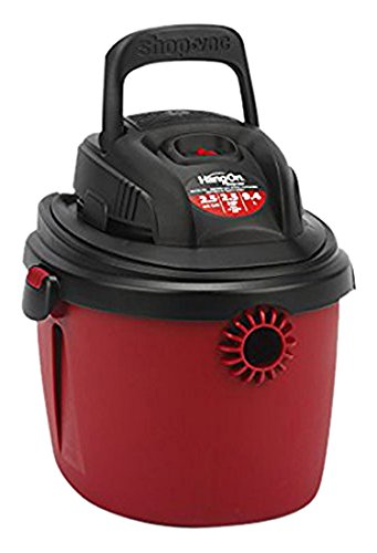 Shop-Vac 2036000 2.5-Gallon 2.5 Peak HP Wet Dry Vacuum Small Red/Black With Collapsible Handle, Wall Bracket & Multifunction Accessories, Uses Type S Dry Filter & Type R Foam -