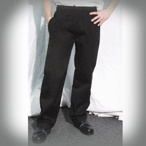 San Jamar P014BK Poly Cotton Slim Fit Pant with 2 Side and 2 Rear Pockets, Large, Black (Chef Revival Clothing)