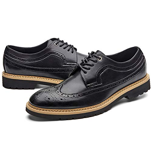 (GM GOLAIMAN Men's Dress Shoes Wingtip Oxfords Formal Lace-Up Stylish Brogue Shoes Black 11 D (M) US)