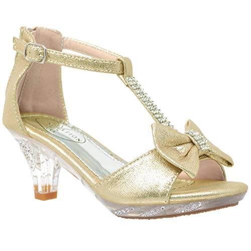 Generation Y Kids Dress Sandals T-Strap Rhinestone Glitter Clear High Heel Shoes Champagne SZ 4 ()