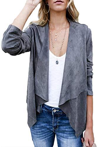 Collar Cardigan Outerwear Mujeres Gris Asimétrica Yulinge Delantero Abierto Chaqueta x0pww5Eq