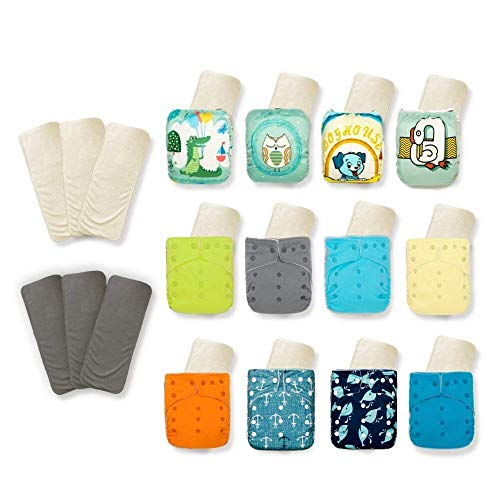 KaWaii Baby Super Value Pack 12 Reusable Cloth Diapers+12 One Size Premium Bamboo Inserts + 6 Free Bamboo Inserts for Baby boy and Girl Newborn to Toddler Super Comfortable and Soft