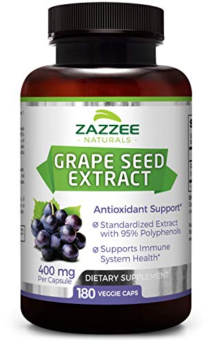 Grape Seed Extract 180 Veggie Caps 400 mg | 6 Month Supply | 95% Proanthocyanidins | All Natural, Vegan and Non-GMO | Extra Strength Pharmaceutical ()