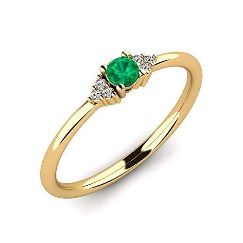 Gelbgoldring Donald mit Smaragd 0,10 ct AAA Qualität und VS Diamanten 0,03 ct aus 585 Gelbgold - Premium Ring als Geschenk - Handgefertigter, schmaler Verlobungsring als Vorsteckring