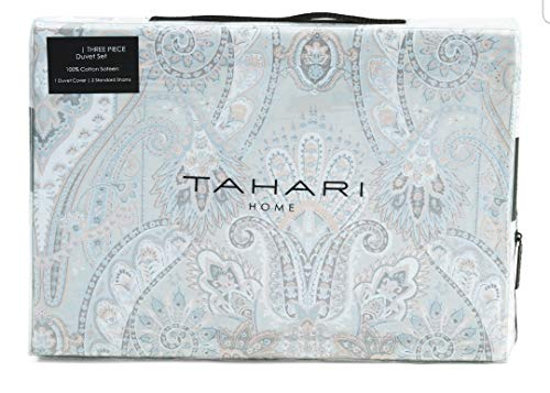 Tahari Home King Duvet Cover Set Medallion Bohemian Grey Blue Pink Paisley Silver Accents Sateen Cotton 3 Pc Set Bedding (Blue Medallion Duvet Cover)
