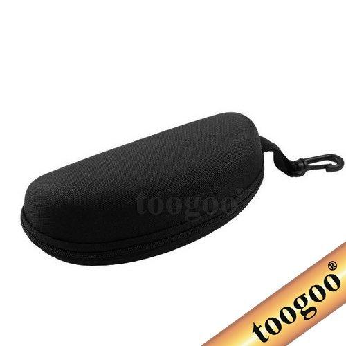 TOOGOO(R) Black Hard Zipper Box Bag Reading Glasses Sunglasses Case w Carabiner - Sunglasses Edgars