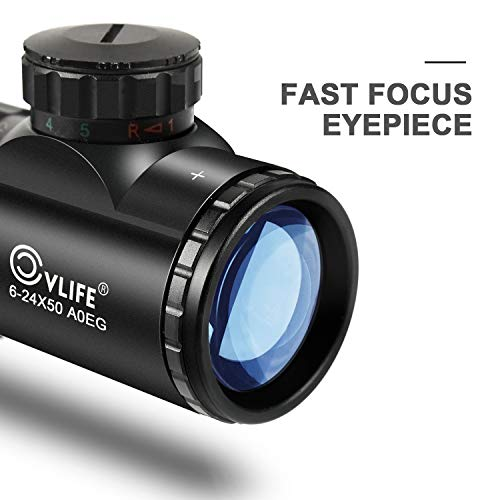 CVLIFE Hunting Rifle Scope 6-24x50 AOE Red and Green Illuminated Gun Scope with Free Mount