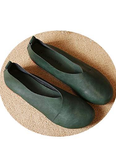 Zachaomero Plus Size Flat Woman Shoes Woman Flat Handmade Leather Loafers Flexible Spring Casual Shoes Woman Flats B07G4GQJR4 Shoes fa0191
