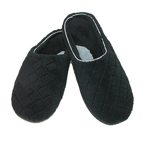 Dearfoams Women's Quilted Terry Clog Mule Slipper – Padded Terrycloth Slip-ONS with Skid-Resistant Rubber Outsole, Black, Large/9-10 M US by Dearfoams (Image #2)