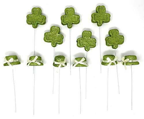 (Nantucket Home Glittered Foam St Patrick's Day Shamrocks and Leprechaun Hats Flower Picks, Set of 12)