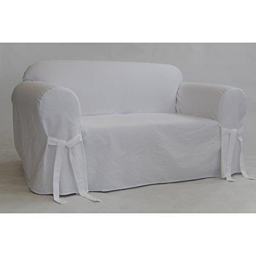 Classic Slipcovers BT20RASLWHT Solid White Twill Loveseat Slipcover, ()