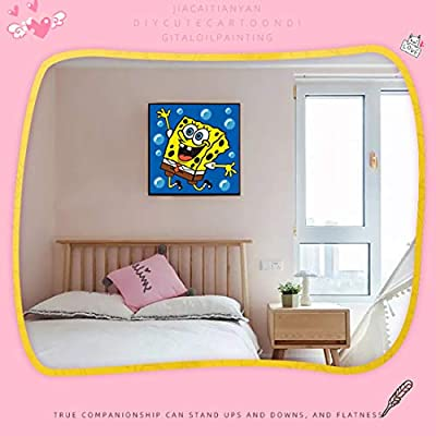 Hwhale DIY Colorful Oil Painting for Kids Boys and Girls Cartoon Hand-Painted Oil Paint by Numbers(Spongebob Oil Painting): Toys & Games