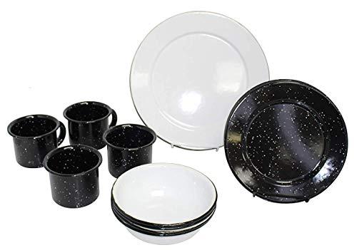 IMUSA USA 16PC Enamel Tableware Set from MEXICO, Blue, white