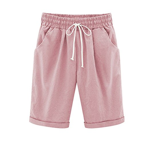 - ONLY TOP Women's Casual Shorts with Elastic Waist Drawstring Pink